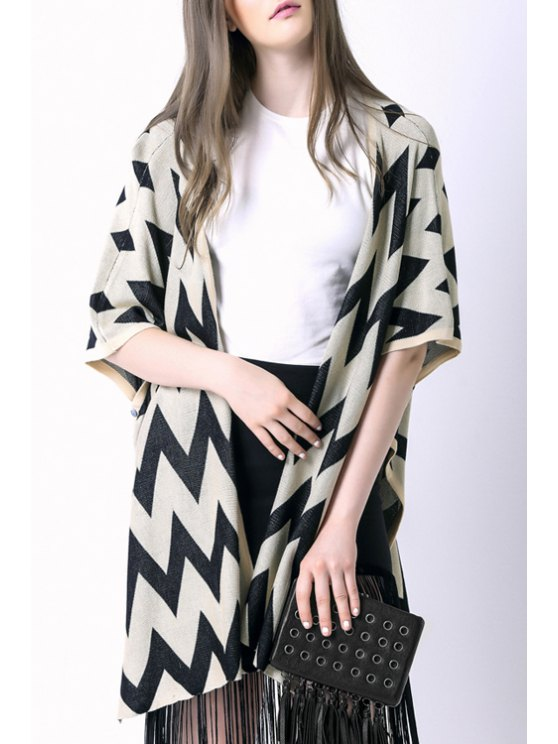 chic Zig Zag Print Irregular Hem Cape Cardigan - OFF-WHITE ONE SIZE(FIT SIZE XS TO M)