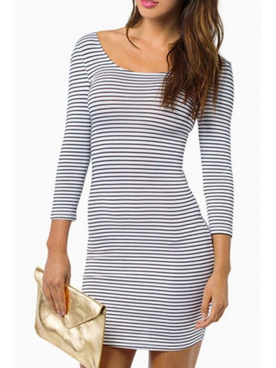 best Stripes 3/4 Sleeve Bodycon Dress - WHITE XS