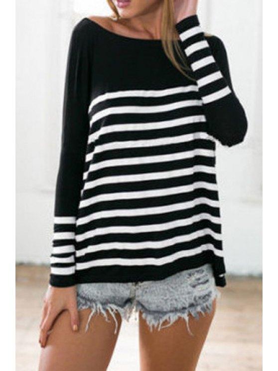 womens Stripes Boat Neck Long Sleeve T-Shirt - BLACK L