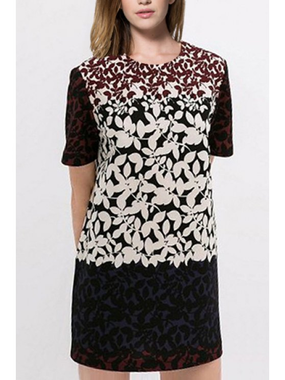 fancy Leaf Print Round Neck Short Sleeve Dress - WHITE AND BLACK S