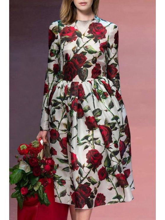 affordable Full Rose Round Neck Long Sleeve Dress - WHITE S