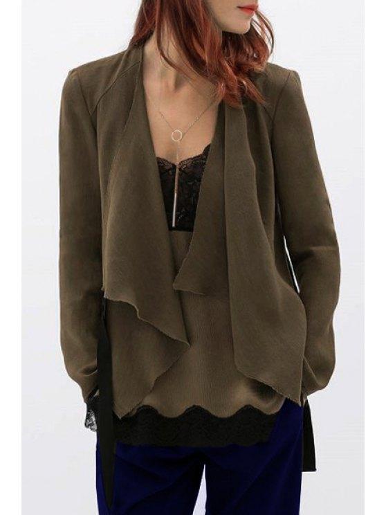 online Turn Down Collar Irregular Hem Coat - DARK KHAKI S
