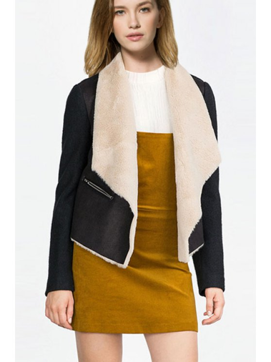 latest Black Turn Down Collar Long Sleeve Jacket - BLACK S