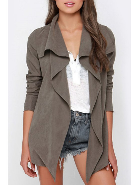 womens Long Sleeve Irregular Hem Trench Coat - GRAY S