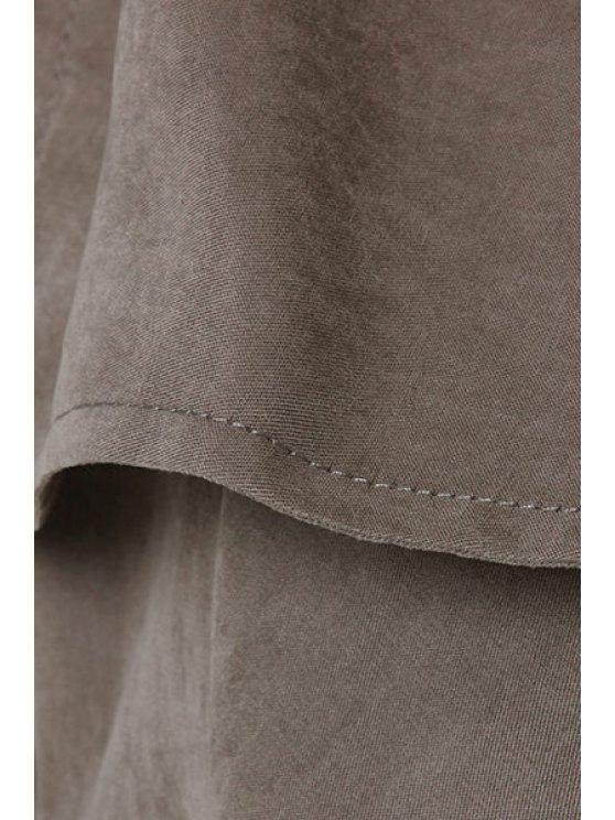 Long Sleeve Irregular Hem Trench Coat - GRAY S Mobile