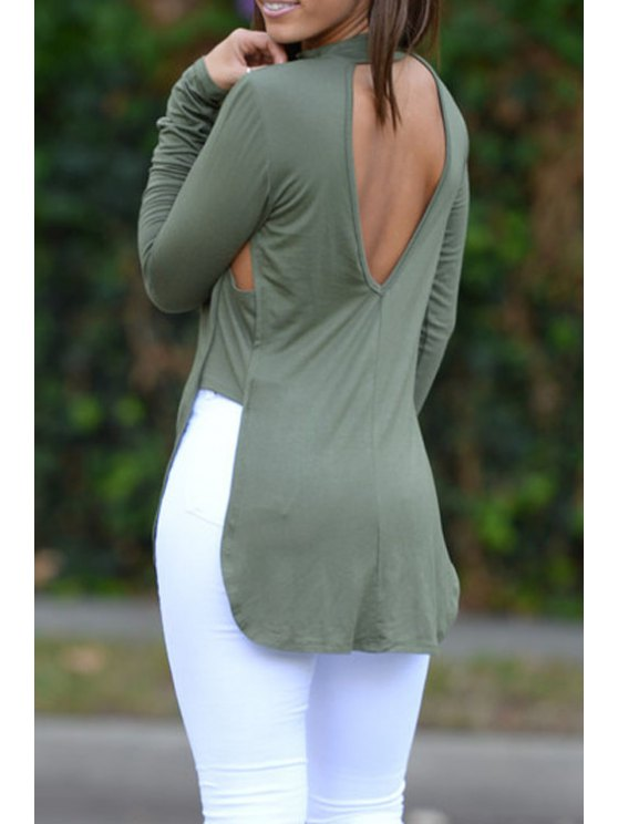 shop Solid Color Cut Out Stand Collar Long Sleeves T-Shirt - ARMY GREEN S
