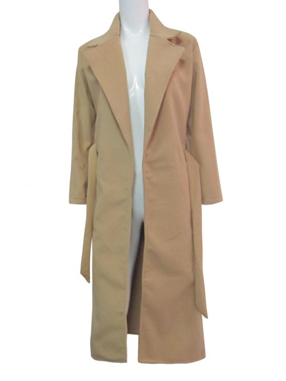 chic Turn-Down Collar Solid Color Belted Woolen Coat - KHAKI S