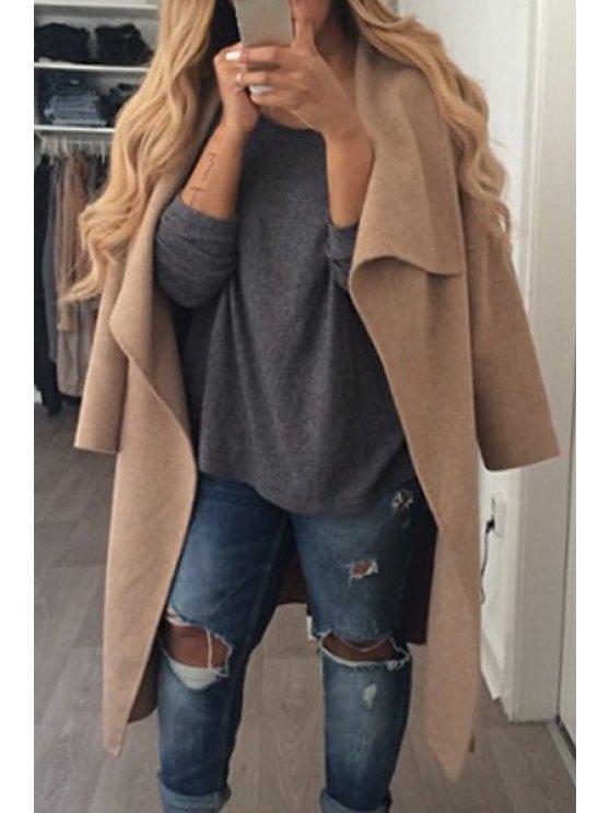 women Turn-Down Collar Solid Color Woolen Coat - KHAKI S