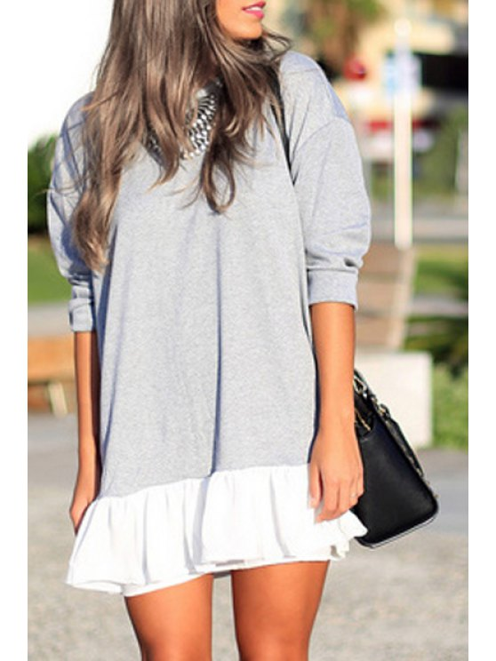 trendy 3/4 Sleeve Ruffle Hem Loose Dress - LIGHT GRAY S
