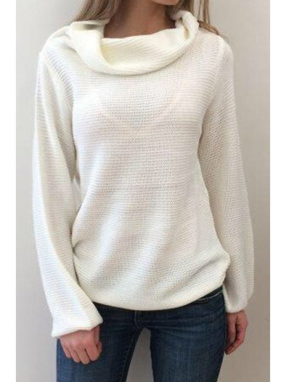 new Solid Color Heaps Collar Long Sleeves Sweater - WHITE S
