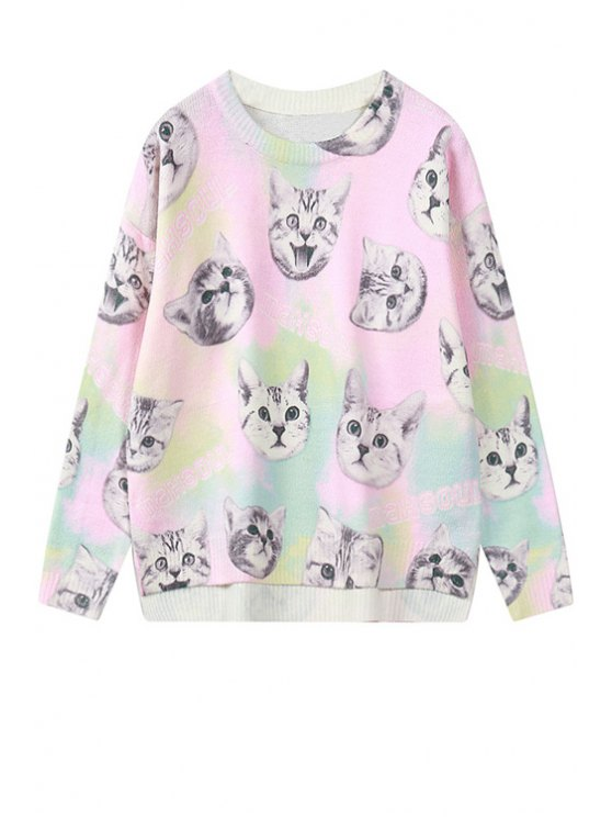 shop Kitten Pattern Pink Sweater - PINK ONE SIZE(FIT SIZE XS TO M)