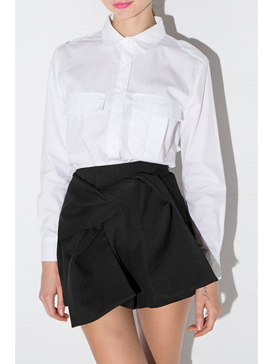 outfits Solid Color Flat Collar Long Sleeves Brief OL Shirt - WHITE XS