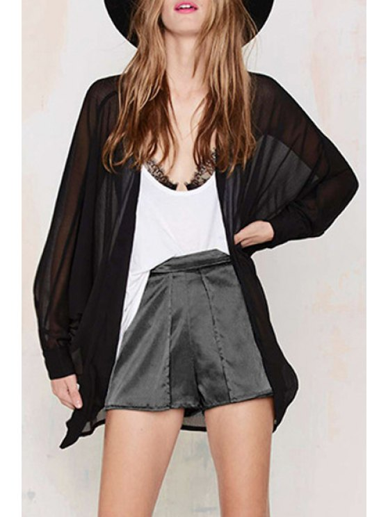 womens Solid Color Loose Fitting Batwing Sleeves Chiffon Blouse - BLACK XS