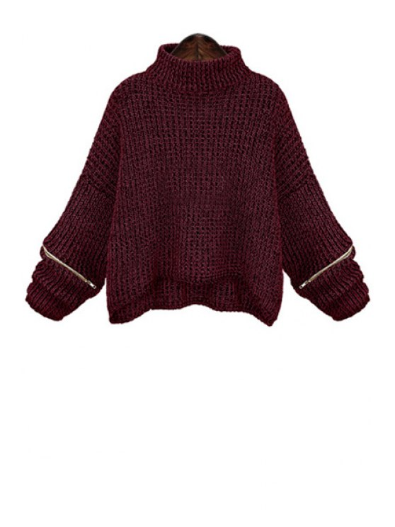 chic Turtle Neck Zippered Oversized Sweater - WINE RED XL