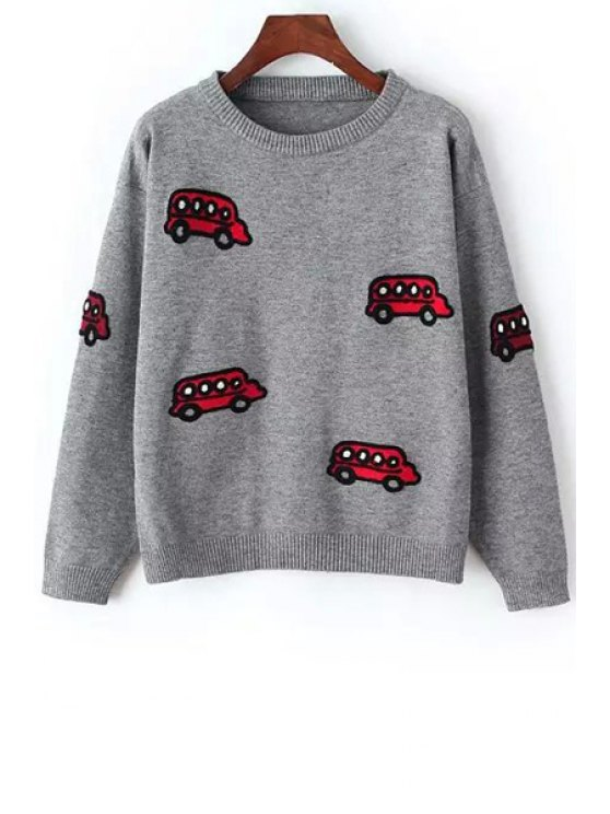 shop Car Embroidery Long Sleeve Jumper - GRAY ONE SIZE(FIT SIZE XS TO M)