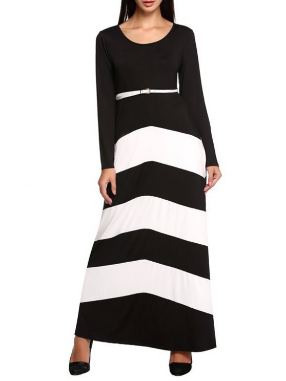 lady Long Sleeve Color Block Prom Dress - WHITE AND BLACK S