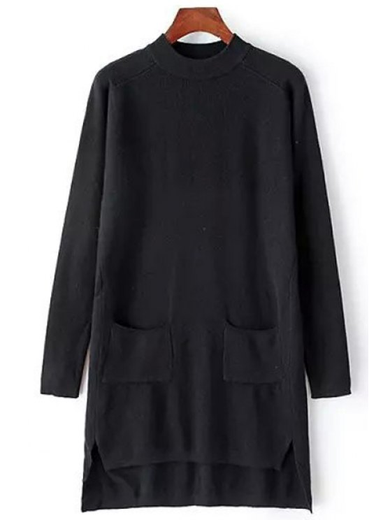 women High Low Long Sleeve Sweater Dress - BLACK ONE SIZE(FIT SIZE XS TO M)