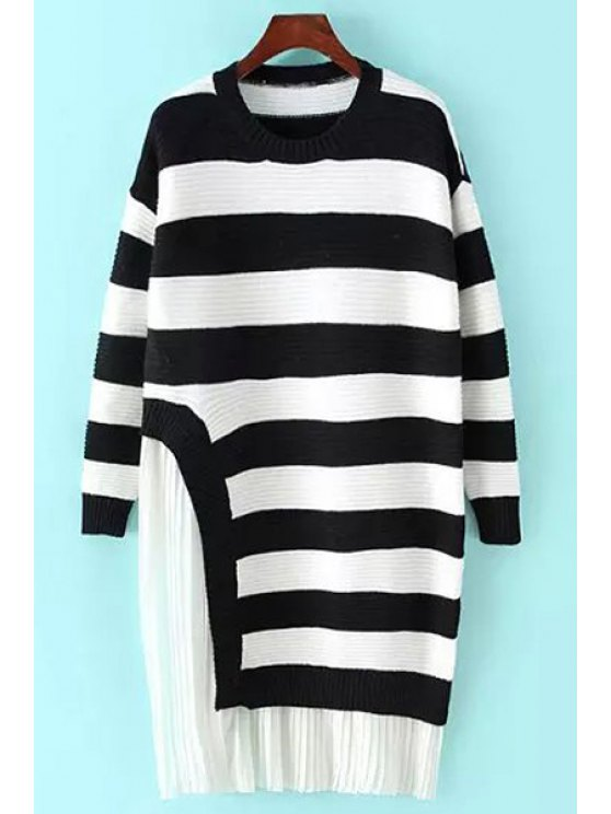 new Pleated Chiffon Spliced Long Sleeve Sweater Dress - WHITE AND BLACK ONE SIZE(FIT SIZE XS TO M)