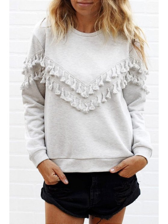 outfit Long Sleeve Fringed Solid Color T-Shirt - LIGHT GRAY S
