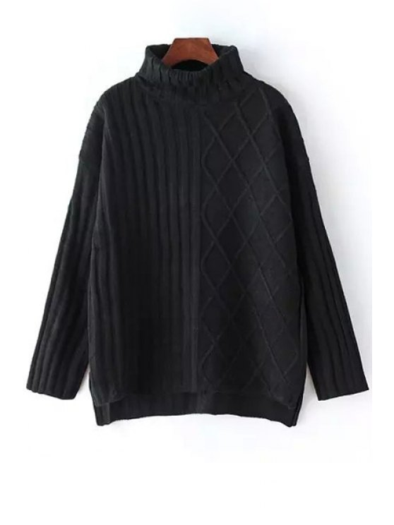 hot High Low Turtle Neck Long Sleeves Jumper - BLACK ONE SIZE(FIT SIZE XS TO M)