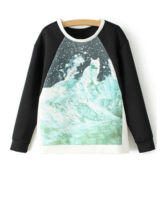 unique Round Collar Long Sleeves Printed Sweatshirt - COLORMIX S