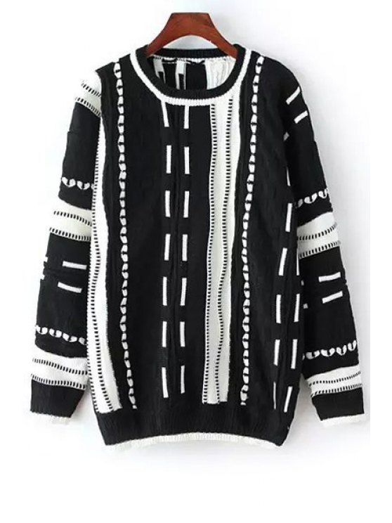 shops Long Sleeve Stripes Pullover Sweater - BLACK ONE SIZE(FIT SIZE XS TO M)
