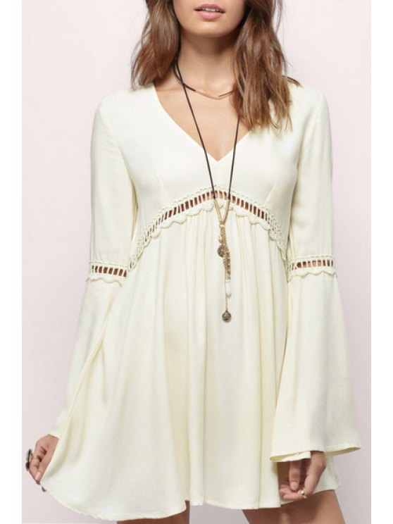 fancy V-Neck Bell Sleeve Hollow Out Dress - WHITE S