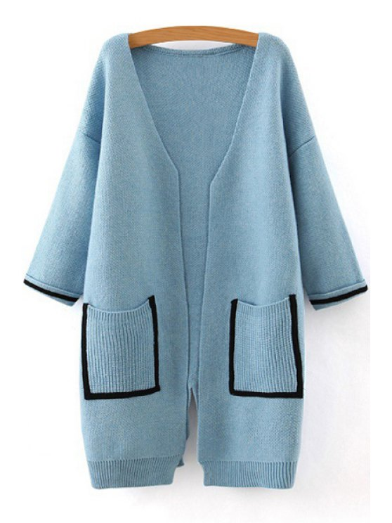 online Back Slit Black Edge Pockets Loose Fitting Cardigan - BLUE ONE SIZE(FIT SIZE XS TO M)