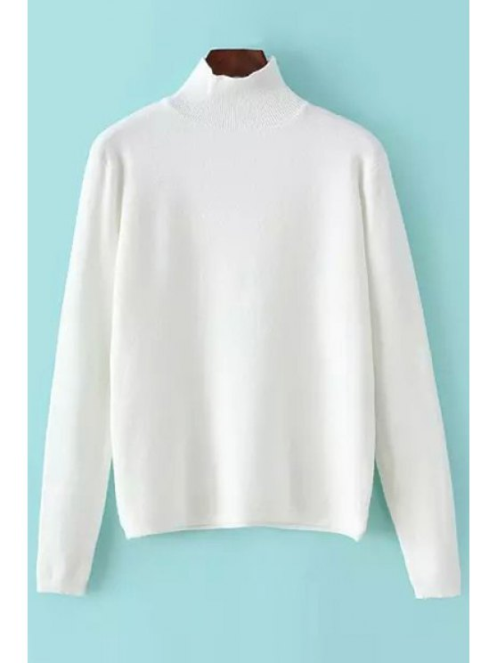 womens Pure Color Turtle Collar Long Sleeves Jmper - WHITE ONE SIZE(FIT SIZE XS TO M)