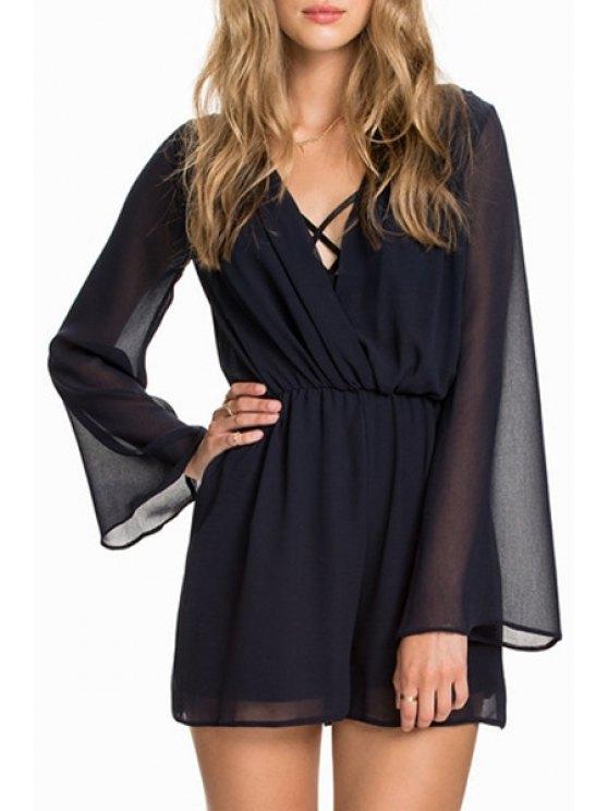 trendy V-Neck Long Sleeve Chiffon Romper - BLACK S