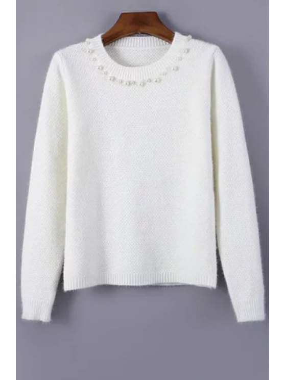 online Beading Jewel Neck Long Sleeve Jumper - WHITE ONE SIZE(FIT SIZE XS TO M)