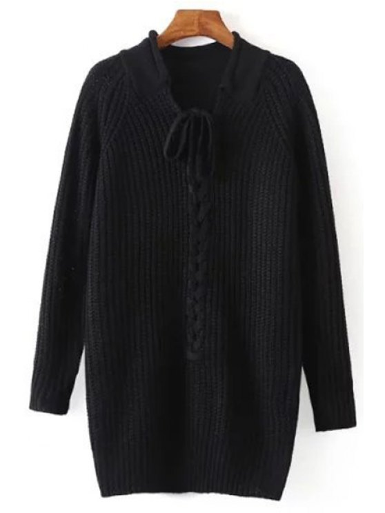 chic Pure Color Long Sleeve Lace Up Jumper - BLACK ONE SIZE(FIT SIZE XS TO M)