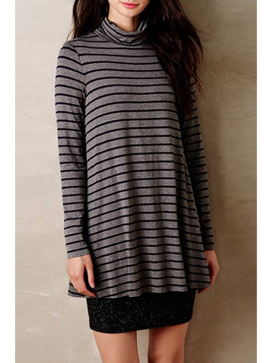 outfits Turtle Neck Striped A-Line Dress - GRAY S