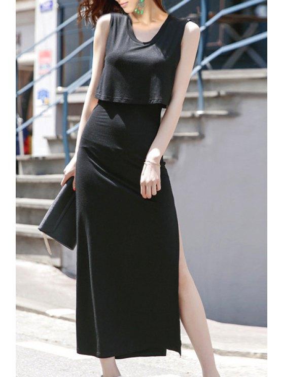 hot Sleeveless Layered Side Slit Maxi Dress - BLACK S