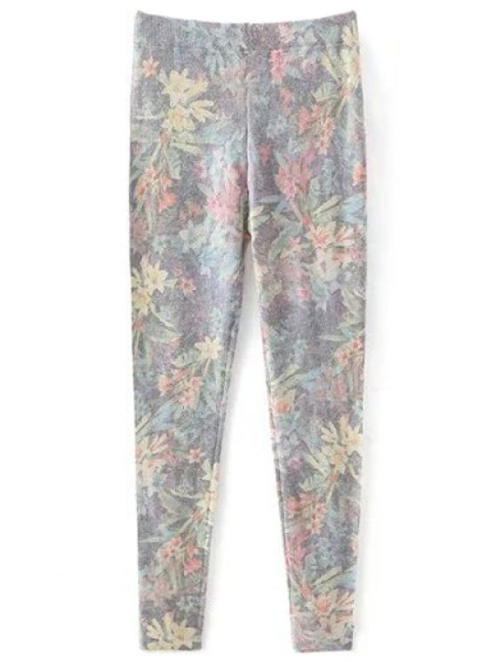 new Printed Cashmere Thicken Leggings - GRAY M