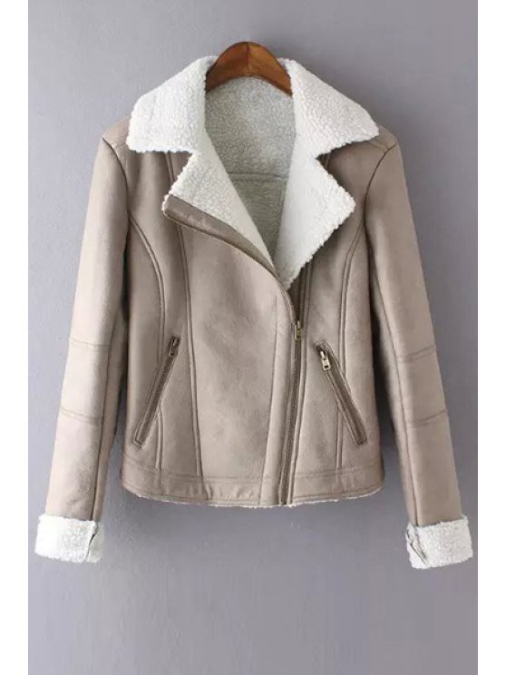 shops Faux Suede Lapel Long Sleeves Jacket - KHAKI S