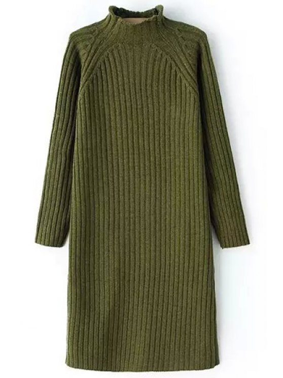 shops Pure Color Turtle Neck Long Sleeve Sweater Dress - GREEN ONE SIZE(FIT SIZE XS TO M)