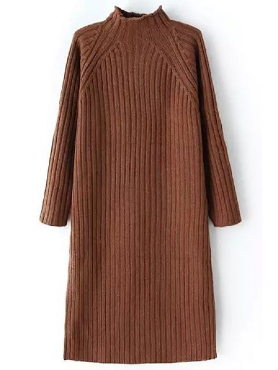 lady Pure Color Turtle Neck Long Sleeve Sweater Dress - COFFEE ONE SIZE(FIT SIZE XS TO M)