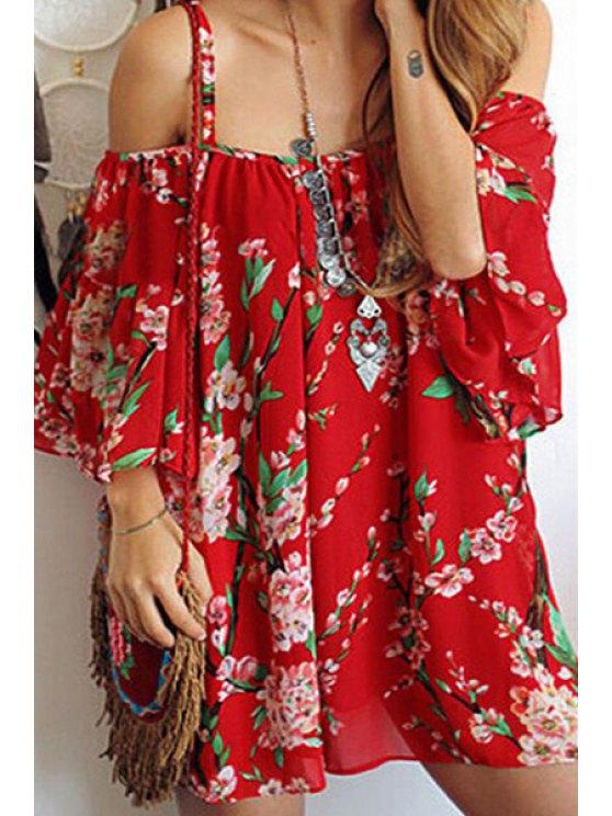 fashion Spaghetti Strap Plum Blossom Chiffon Dress - RED ONE SIZE(FIT SIZE XS TO M)