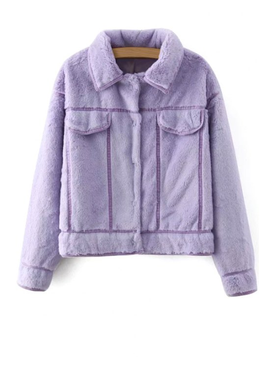 outfits Faux Fur Solid Color Long Sleeves Padded Coat - PURPLE S