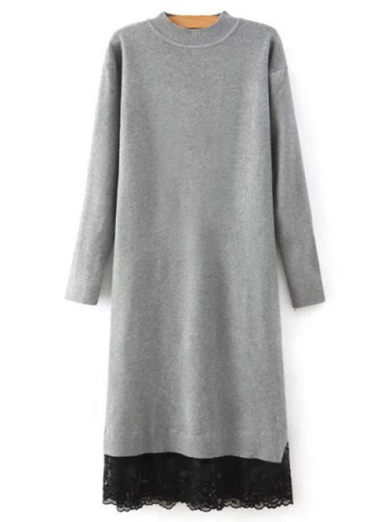 outfits Lace Spliced Round Neck Long Sleeves Sweater Dress - GRAY M