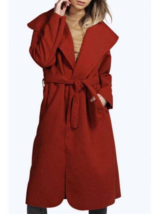 womens Large Lapel Self-Tie Belt Coat - RED M