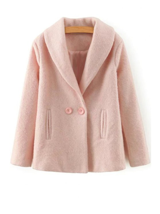 new Pure Color Pockets Turn-Down Collar Long Sleeves Coat - PINK S