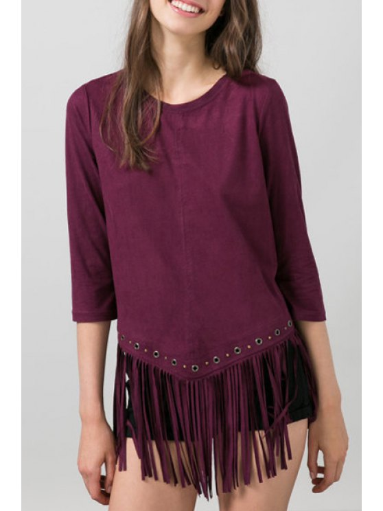 ladies Solid Color Suede Tassels 3/4 Sleeves T-Shirt - WINE RED S