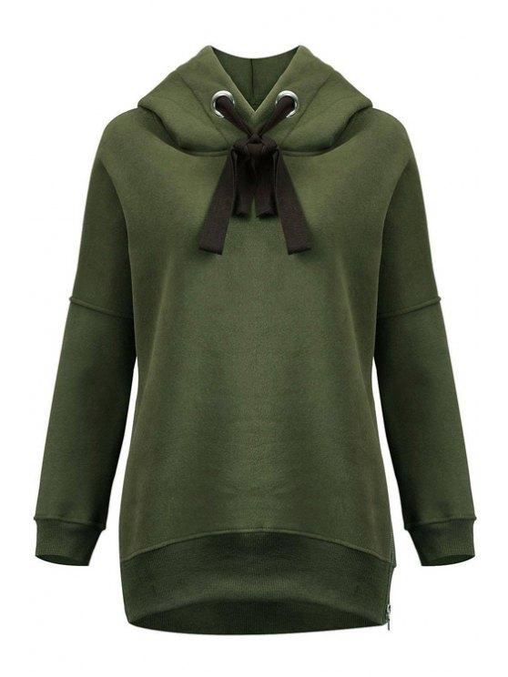 fancy Green Sherpa Pullover Hoodie - ARMY GREEN XL