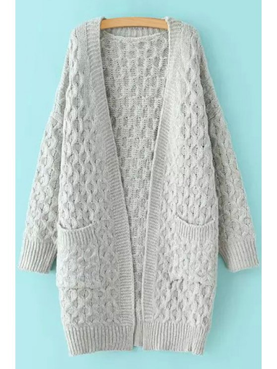 affordable Cable-Knit Collarless Long Sleeves Cardigan - GRAY ONE SIZE(FIT SIZE XS TO M)