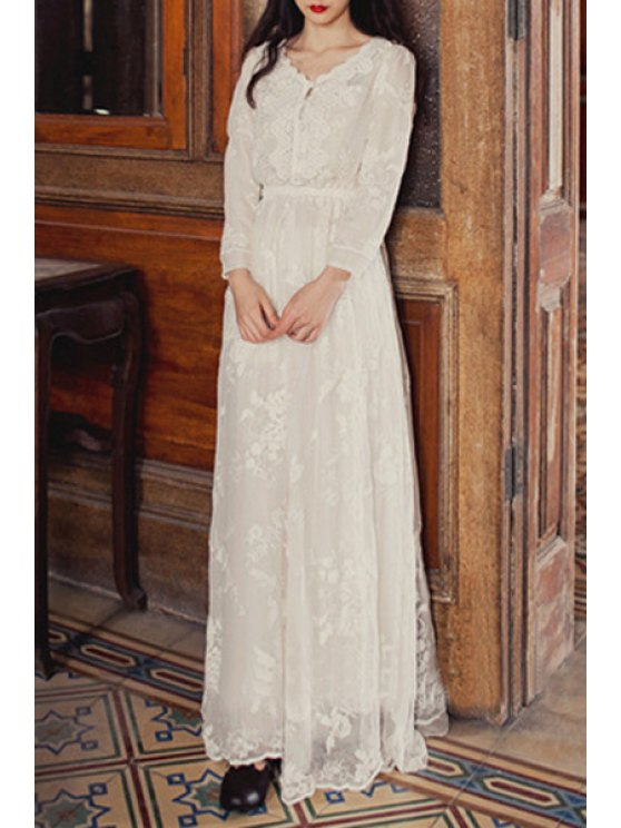 chic White Embroidered Tulle Fairy Dress - WHITE S