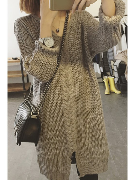 outfit Long Sleeve Cable Knit Long Sweater - GRAY ONE SIZE(FIT SIZE XS TO M)
