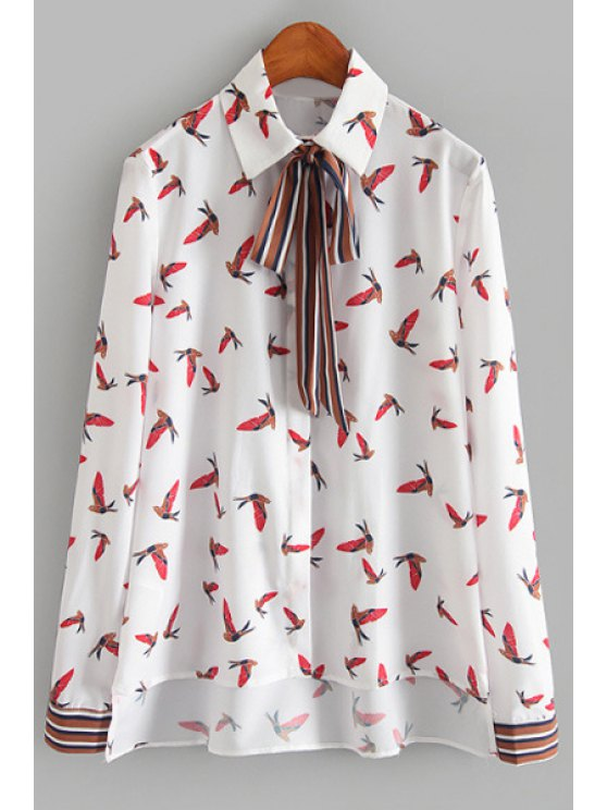 fancy Full Bird Print Long Sleeves Shirt - WHITE L