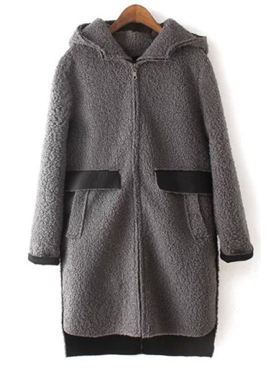 latest High Low Hem Thicken Hooded Long Sleeves Woolen Coat - GRAY L